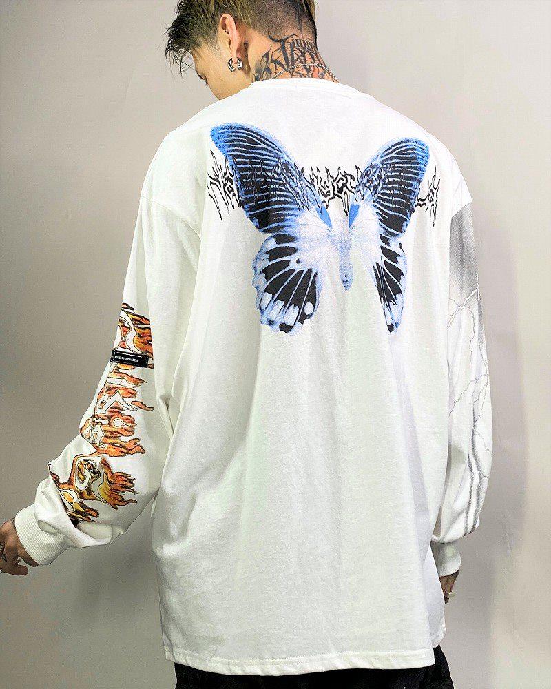 《2色》オーバーサイズブルーバタフライロングTシャツの画像4